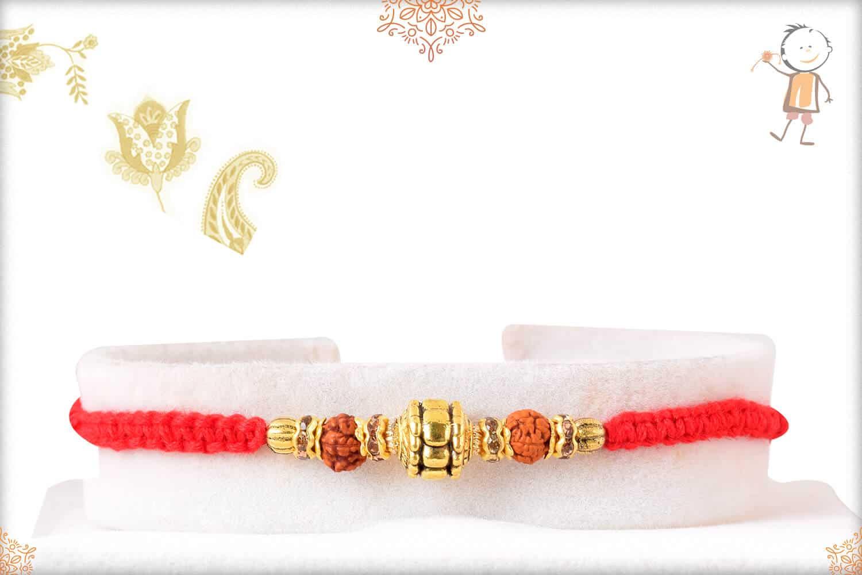 Designer Golden Bead with Rudraksh Rakhi 1