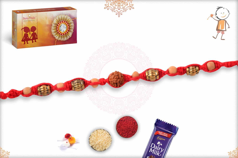 Elegant Rudraksh Mauli Thread Rakhi with Golden Beads 2