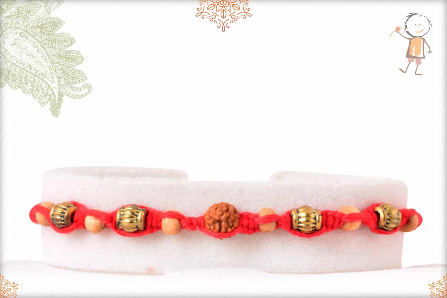 Uniquely Crafted Rudraksh with Golden and Sandalwood Beads 1