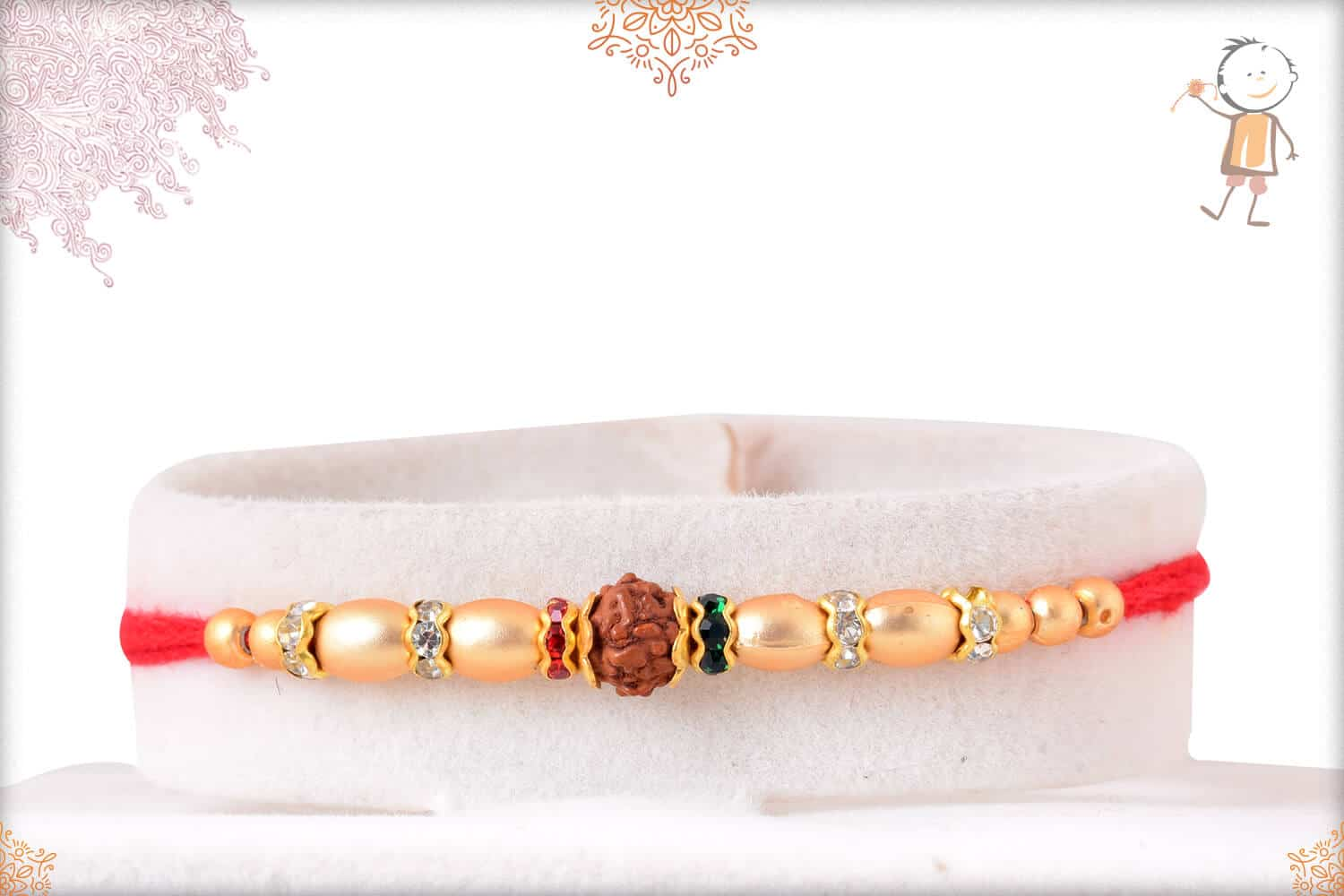 Taditional Rudraksh Rakhi with Pearl and Diamonds 1