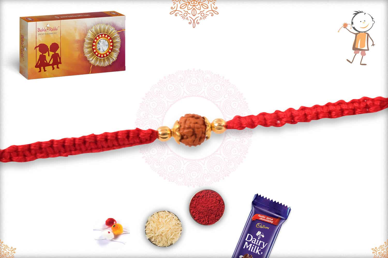 Uniquely Knotted Single Rudraksh Rakhi with Designer Golden Beads 2