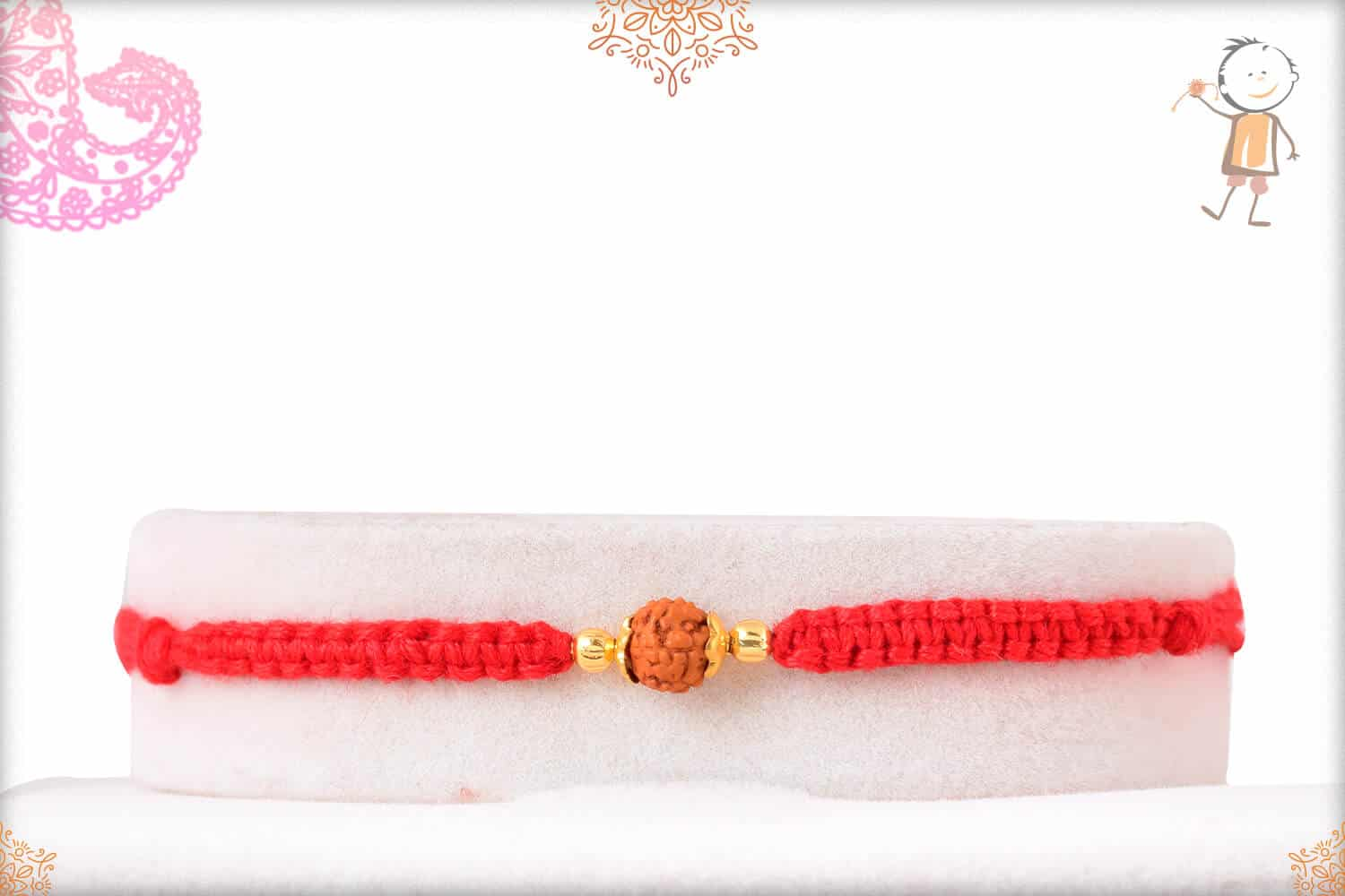 Delicate Rudraksh Rakhi with Uniquely Knotted Red Thread 1