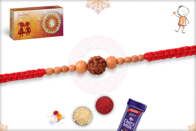 Delicate Rudraksh Rakhi with Beads 2
