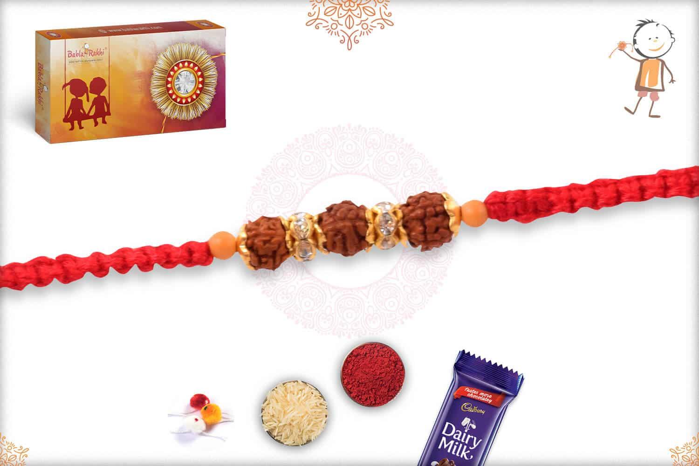 Delicate Uniquely Knotted Single Rudraksh Rakhi 2