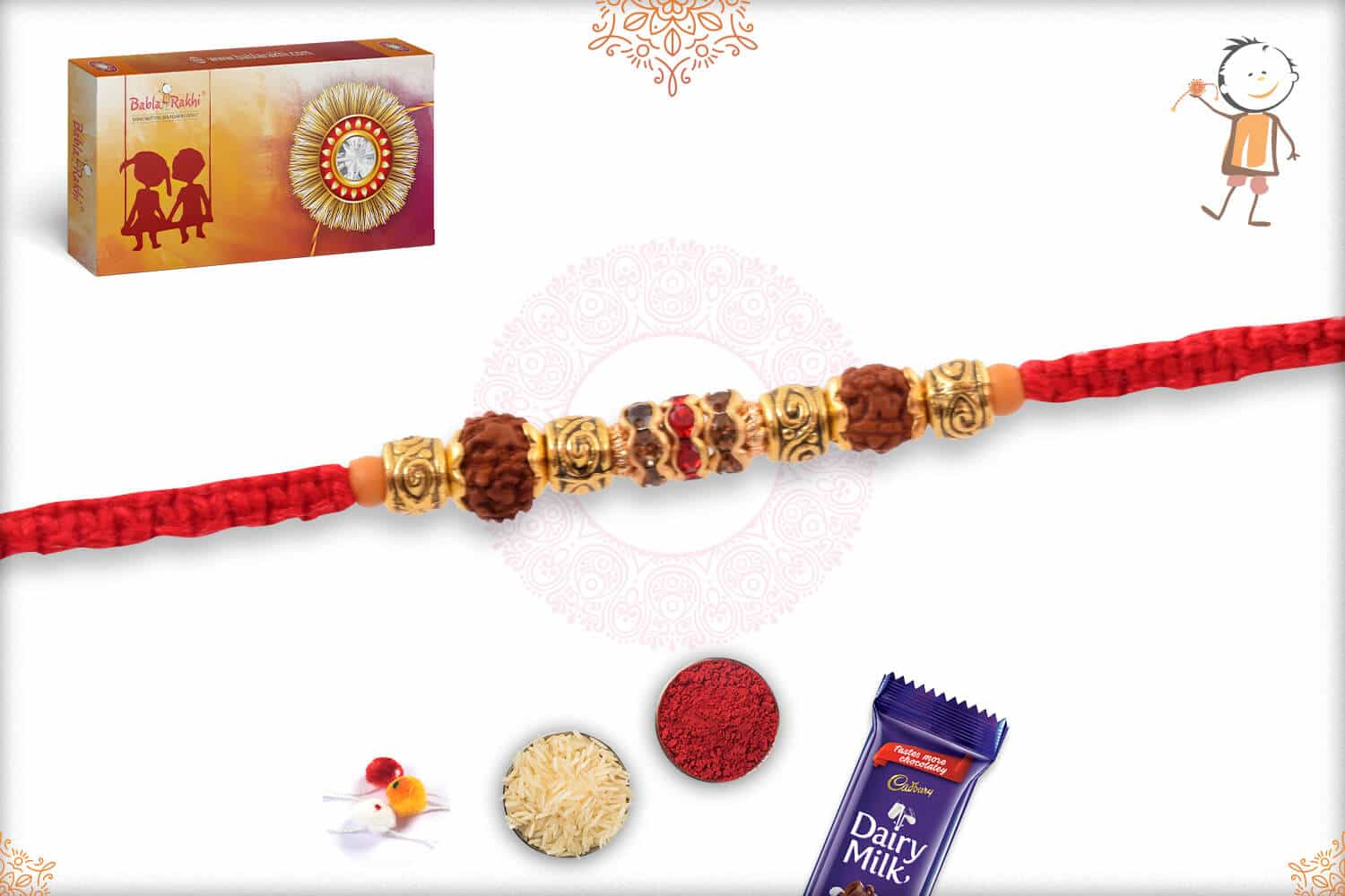 Delicate Uniquely Knotted Rudraksh Rakhi with Sandalwood Beads 2