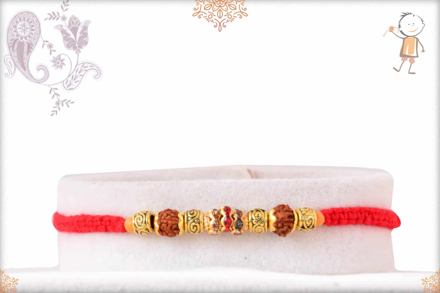 Beautiful Rudraksh Rakhi with Uniquely Knotted Red Thread 1