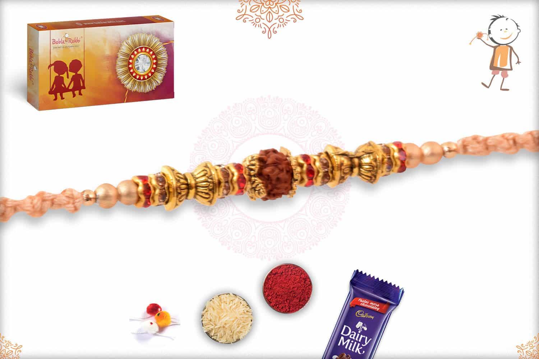 Simple Rudreaksh Rakhi with Beads 2