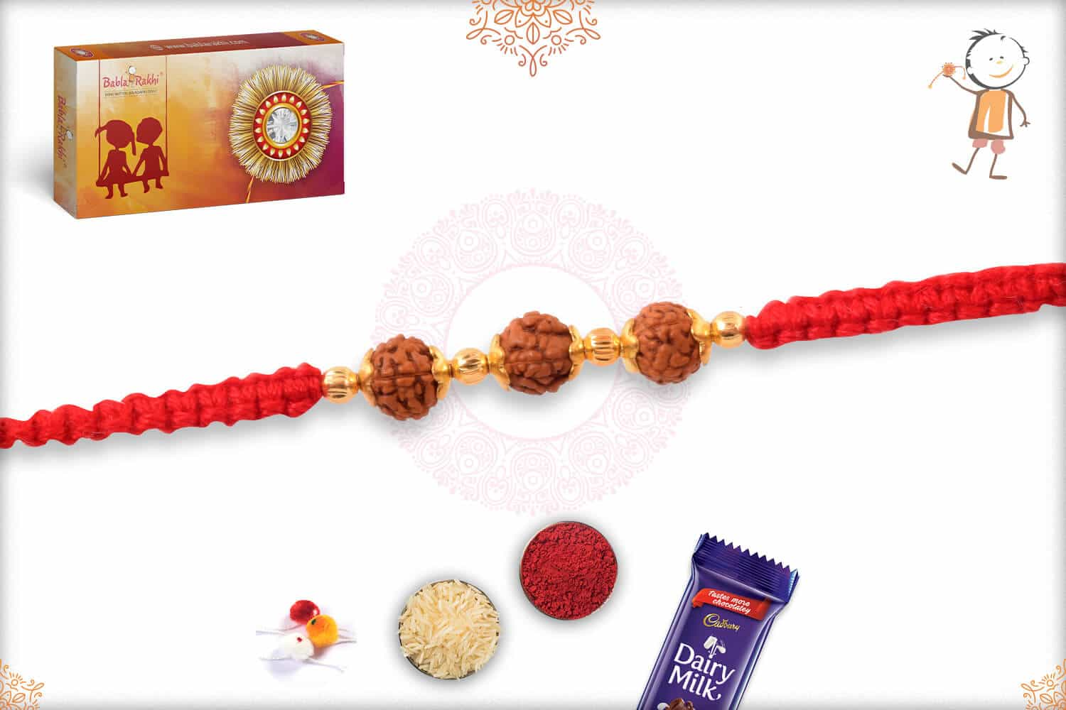Rudraksh and Sandalwood Bead Rakhi with Uniquely Knotted Thread 2