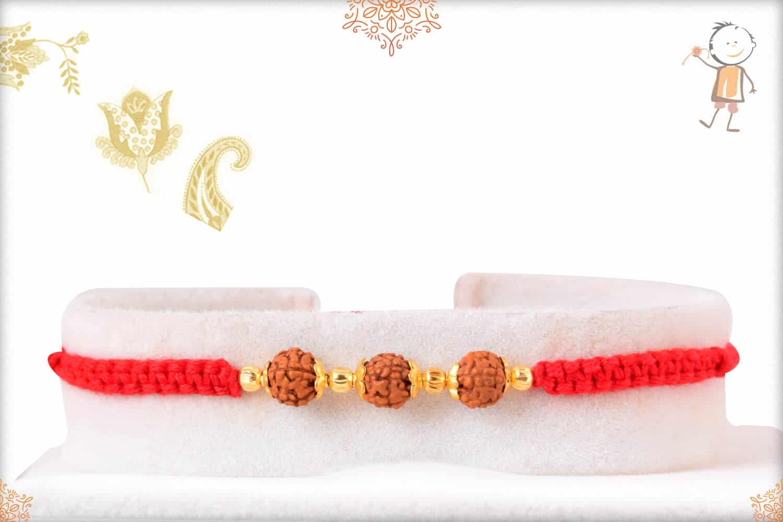Beautiful Rudraksh Rakhi with Small Golden Beads 1