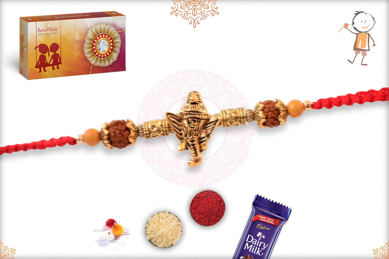 Traditional Rudraksh Rakhi with Pearls 2