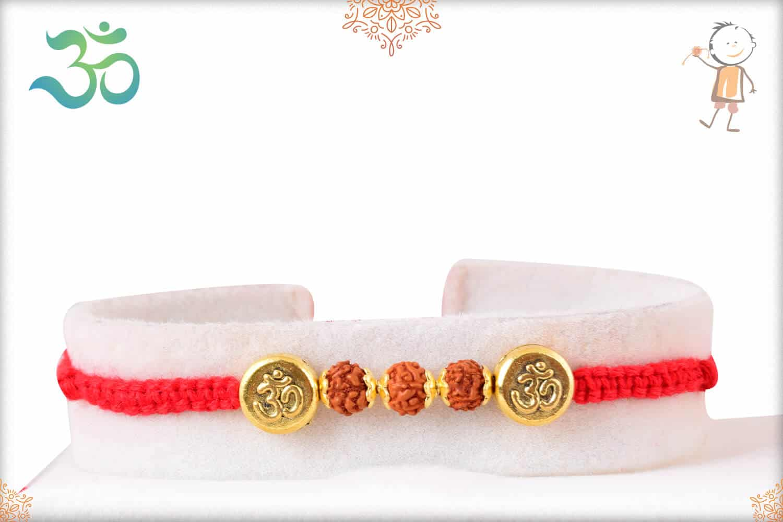 Royal Golden OM Bead with Rudraksh Rakhi 1