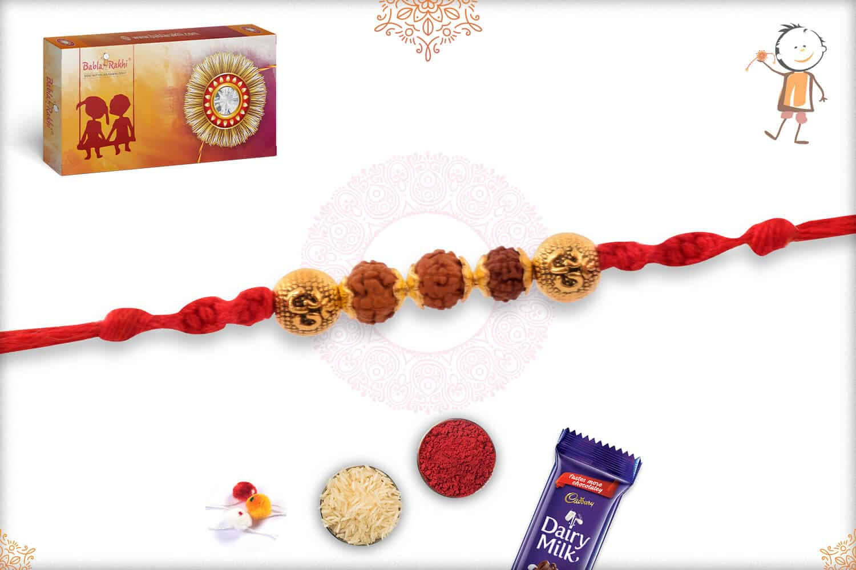 OM Rudraksh Rakhi with Sandalwood Beads 2