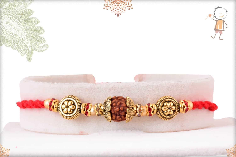 Designer Golden Beads with Rudraksh and Diamond Rakhi 1