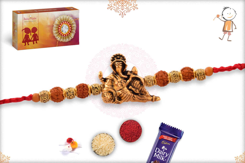 Uniquely Knotted Golden OM Bead Rudraksh Rakhi 2