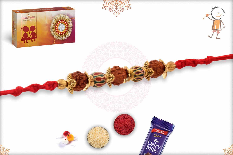 Designer Golden Bead with Rudraksh Rakhi 2