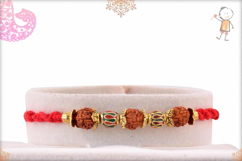 Meenakari Designer Beads with Rudraksh Rakhi 1
