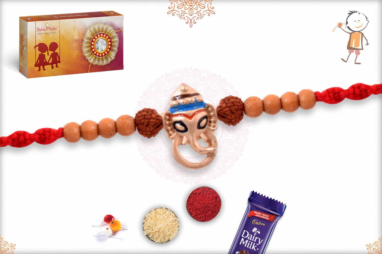 Silver Ganeshji Rakhi with Rudraksh and Sandalwood Beads 2