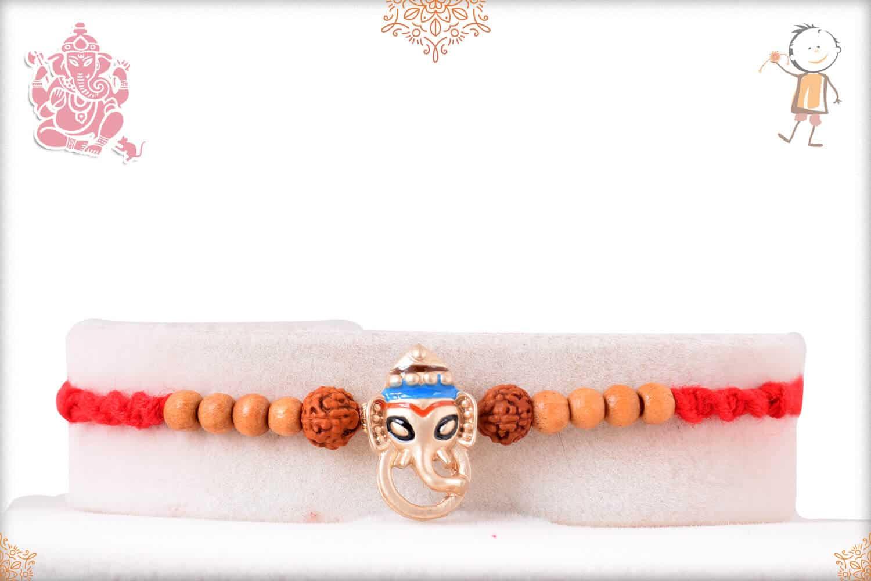 Silver Ganeshji Rakhi with Rudraksh and Sandalwood Beads 1