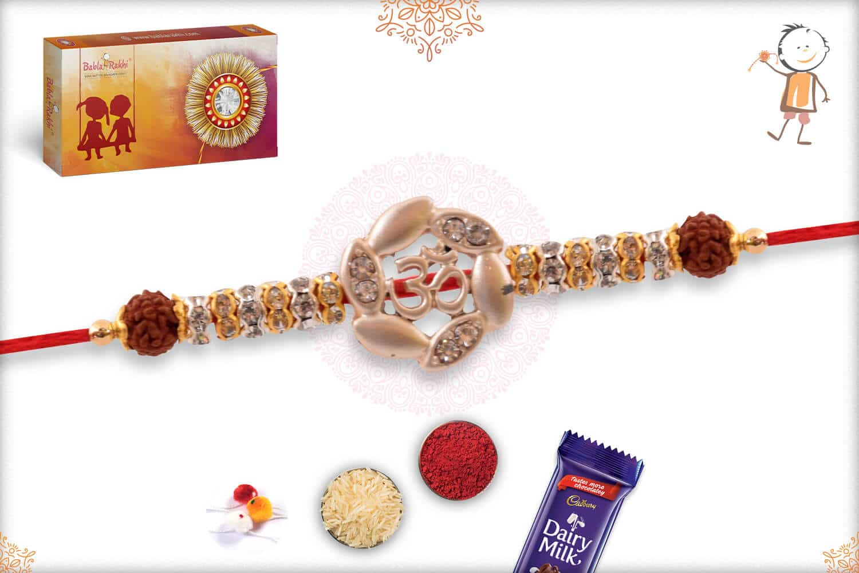 Silver OM Rakhi with Diamonds 2
