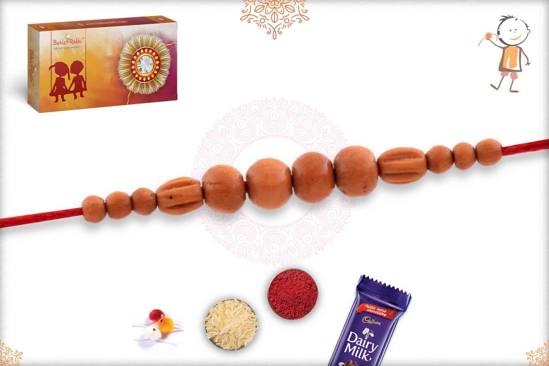 Finely Crafted Sandalwood Beads Rakhi 2