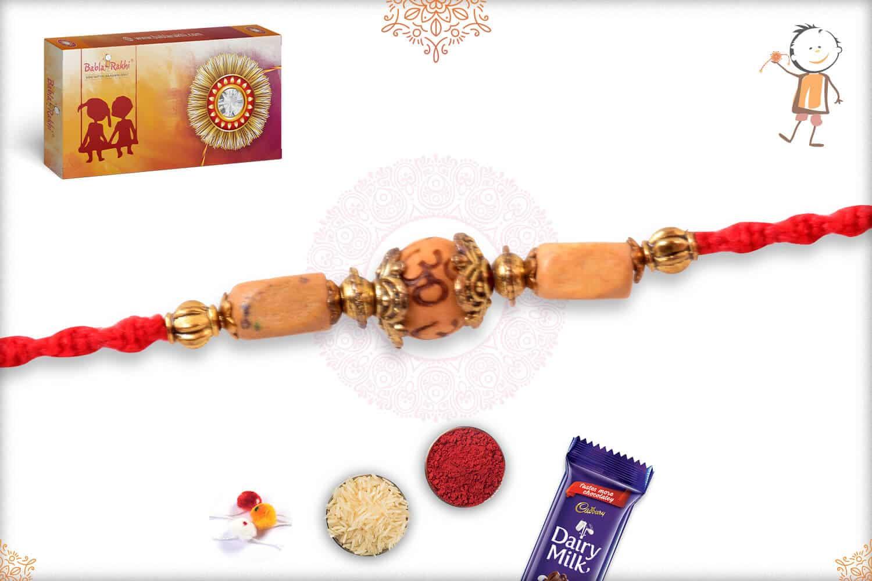 Auspicious OM with Sandalwood Bead Rakhi 2