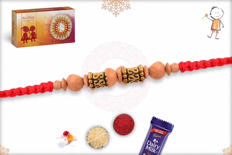 Handcrafted Sandalwood Bead Rakhi with Designer Golden Beads 2