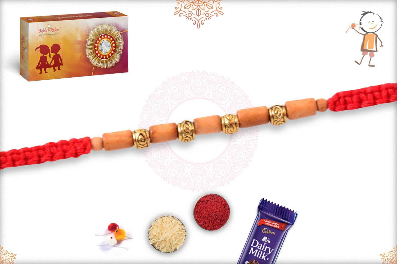 Delicate Sandalwood Beads Rakhi with Designer Golden Beads 2