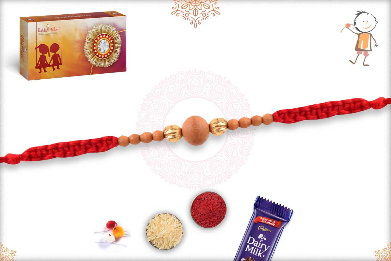 Handcrafted Sandalwood Bead Rakhi 2