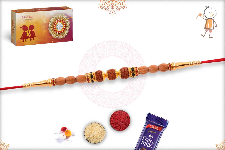 Handcrafted Sandalwood Beads with Three Rudraksh Rakhi 2