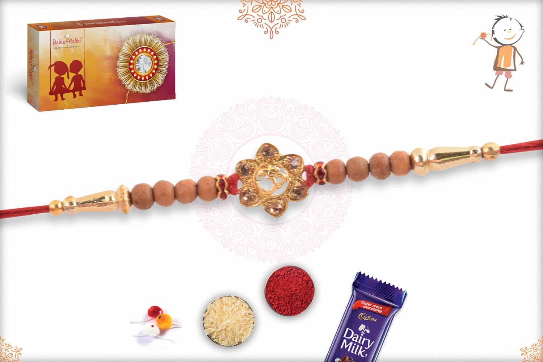 Beautiful OM Rakhi with Sandalwood Beads 2
