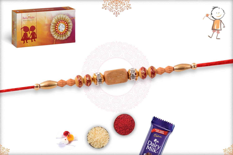 Traditional Sandalwood Bead Rakhi with Diamonds 2