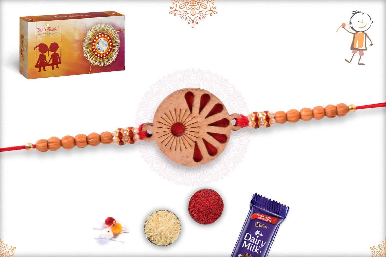 Unique Wooden Rakhi with Sandalwood Beads 2