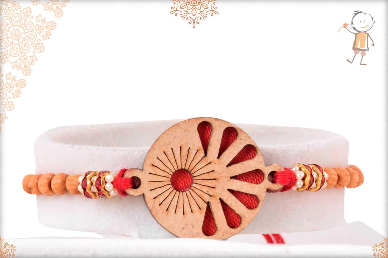 Unique Wooden Rakhi with Sandalwood Beads 1