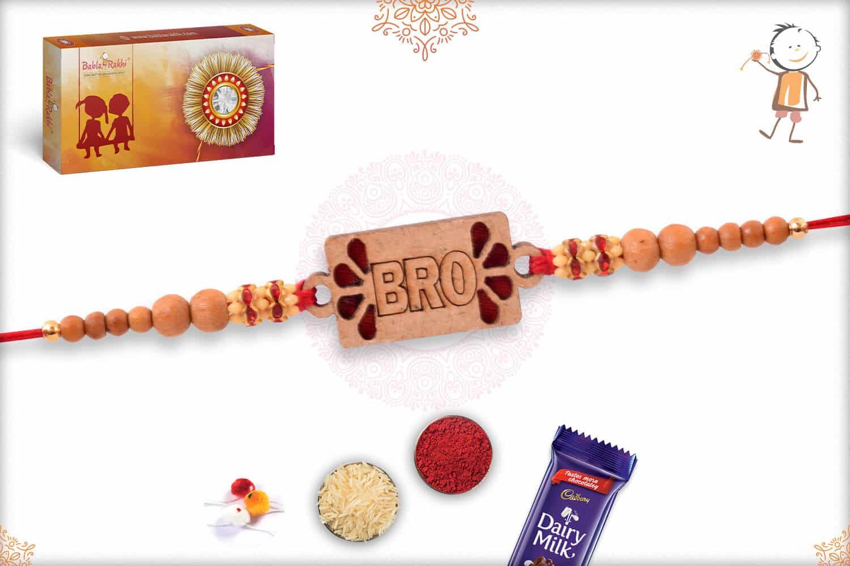 Bro Rakhi with Sandalwood Beads and Diamonds 2