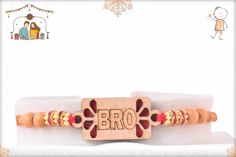 Bro Rakhi with Sandalwood Beads and Diamonds 1