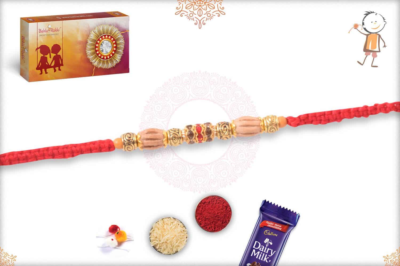 Uniquely Knotted Sandalwood Diamond Rakhi with Golden Beads 2