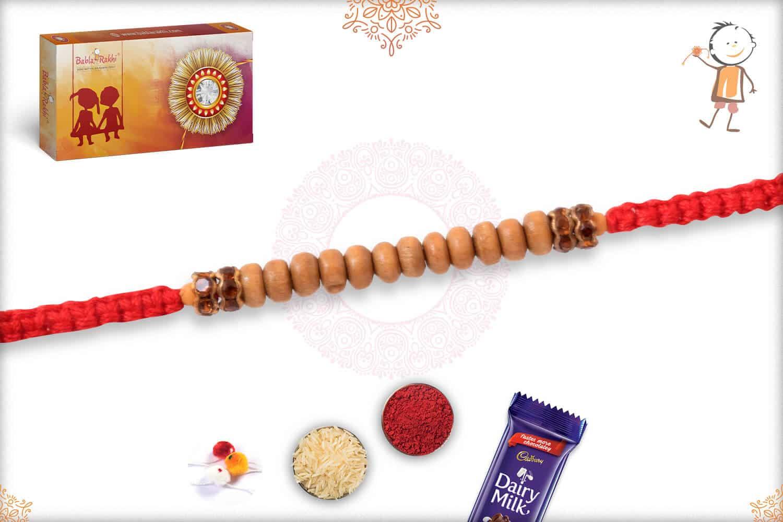 Delicate Sandalwood Diamond Rakhi with Handcrafted Thread 2
