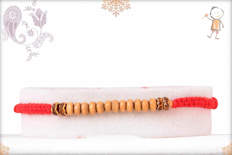 Delicate Sandalwood Diamond Rakhi with Handcrafted Thread 1