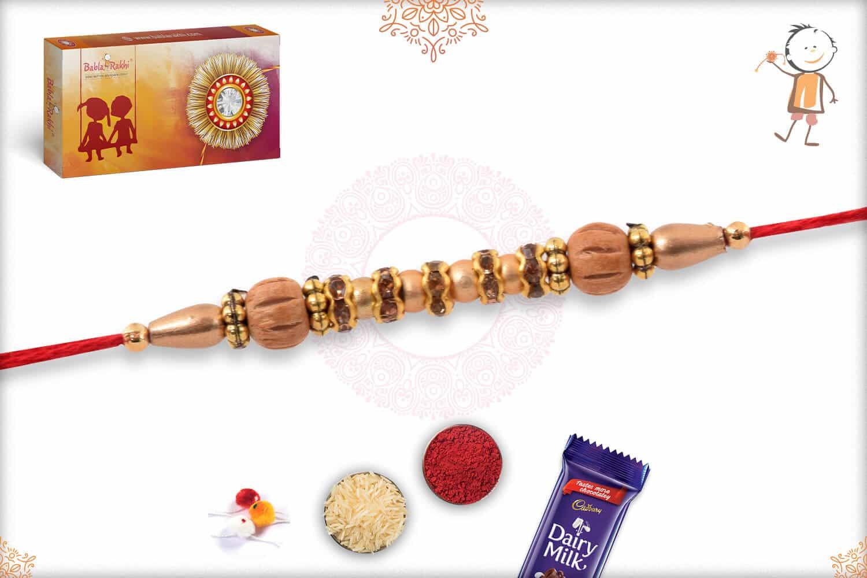 Traditional Sandalwood Diamond Rakhi Golden Beads 2