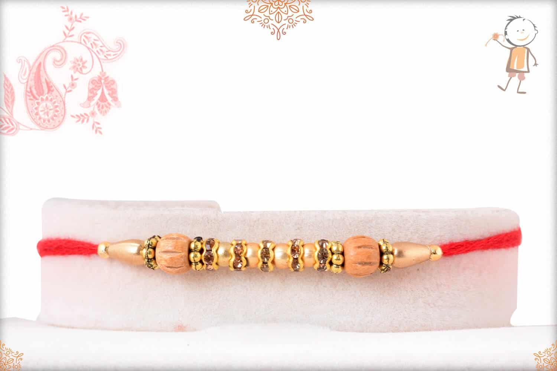 Traditional Sandalwood Diamond Rakhi Golden Beads 1