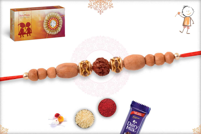 Delicate Sandalwood Diamond Rakhi with Rudraksh 2