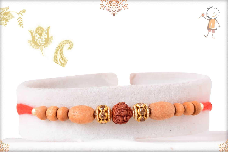 Delicate Sandalwood Diamond Rakhi with Rudraksh 1