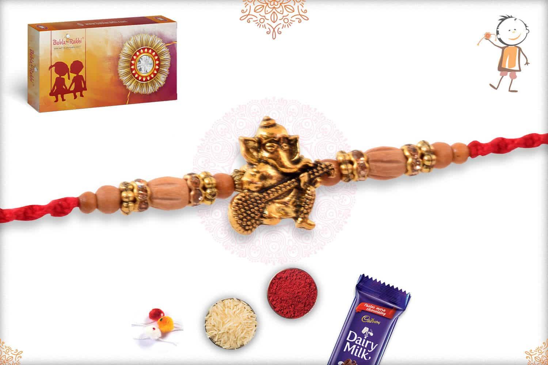 Ganesh Sandalwood Diamond Rakhi 2