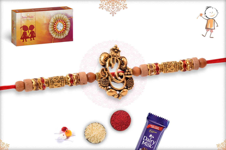 Ganesh Sandalwood Diamond Rakhi with Golden Beads 2