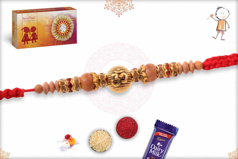 OM Sandalwood Diamond Rakhi with Handcrafted Thread 2