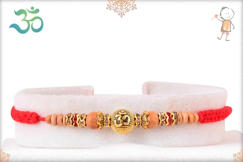 OM Sandalwood Diamond Rakhi with Handcrafted Thread 1