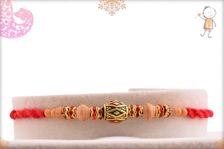 Designer Meenakari Bead with Sadalwood Diamond Rakhi 1