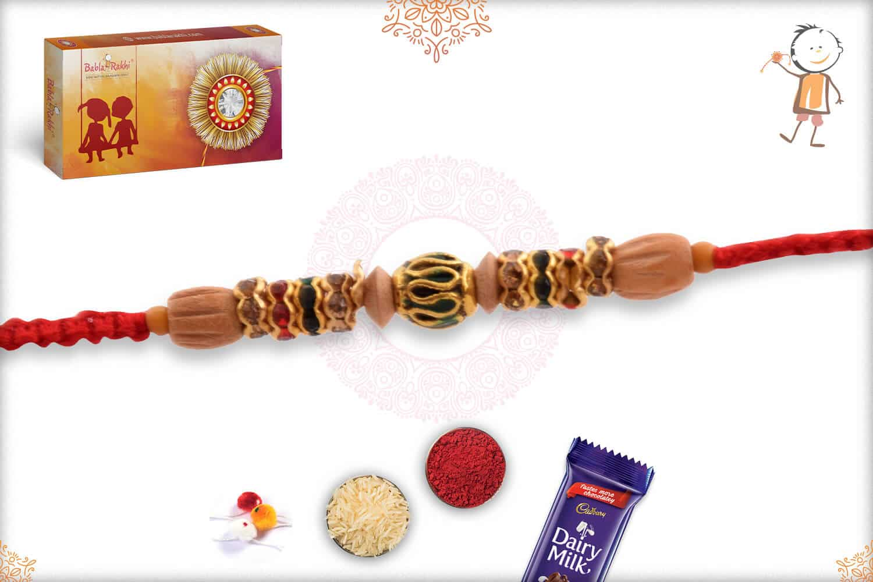 Designer Meenakari Bead with Handcrafted Sadalwood Bead Rakhi 2