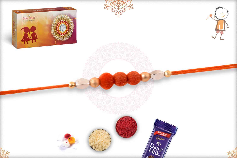 3 Orange Velvet Bead Rakhi 1