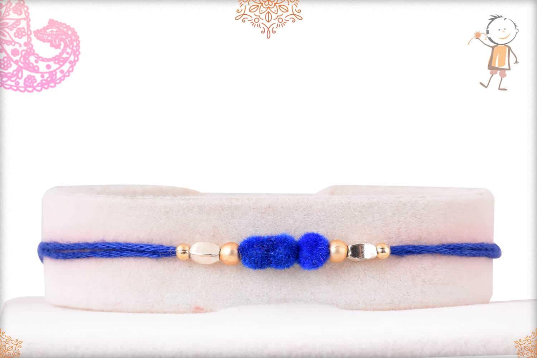 3 Blue Velvet Bead Rakhi 1